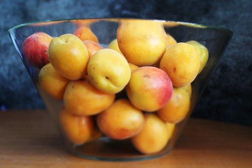 Apricot, Fruit, Glass Bowl, Delicious