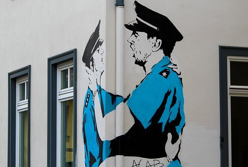 Street Art, Graffiti, Thuringia Germany, Erfurt, Police