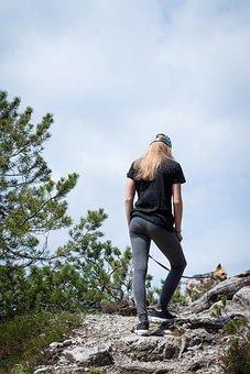 Human, Female, Out, Nature, Dog, Walk, Hiking, Go, Away