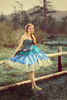 Girl, Leaning, Fence, Poofy Dress, Hoop Skirt