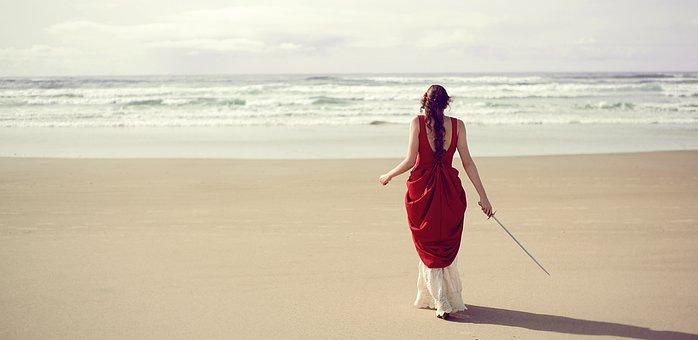 Girl, Looking To Sea, Looking At Ocean, Beach, Sword
