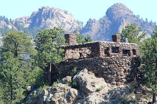 Rocky, Mountain, Colorado, Stone, Cabin, Old