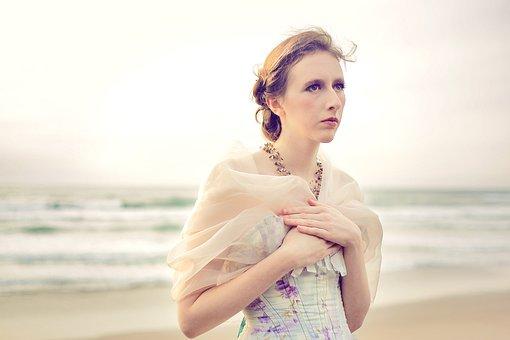 Girl, Ocean, Beach, Formal Gown, Fancy, Sea, Woman