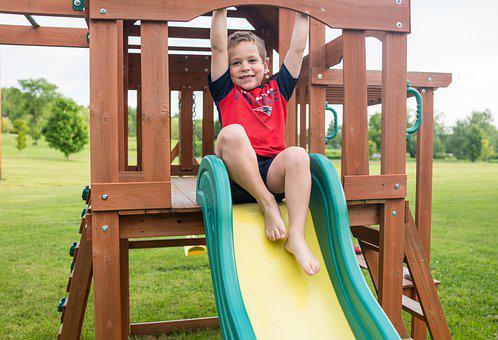 Playground Child, Boy, Slide, Outdoors, Young, Summer
