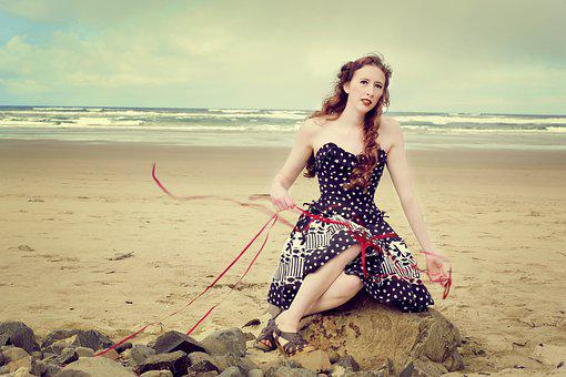 Pin Up, Girl Beach, Ribbons, Polkadot Dress, Beach