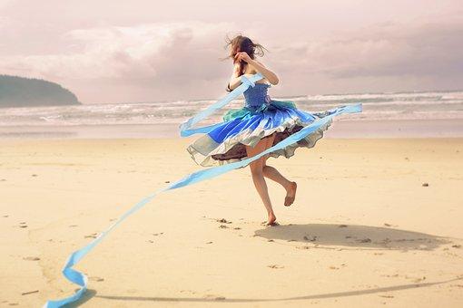 Blue Dress, Girl, Woman, Blue, Dancer, Pose, Model