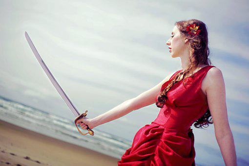 Girl, Anime, Sword, Red Dress, Beach, Sword Fighting