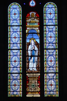 Stained Glass, Colorful, Sainte, Virgin, Mary, Blue