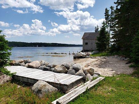 Beach, Nova Scotia, Sea, Coast, Barn, Rocks, Shore