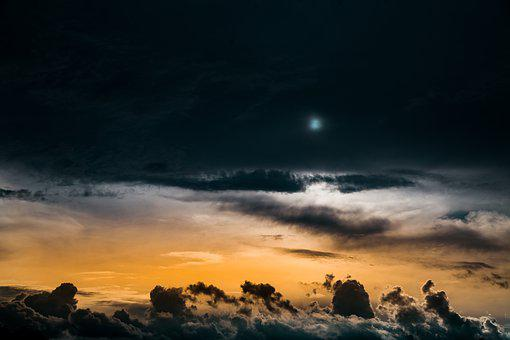 Sky, Moon, Clouds, Universe, Space, Moonlight, Nature