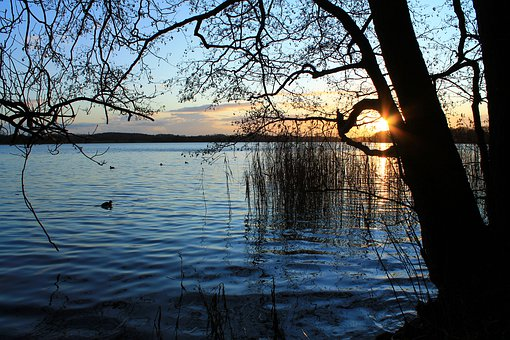 Bad Segeberg, Lake, Water, Sunset, Sky, Nature, Blue