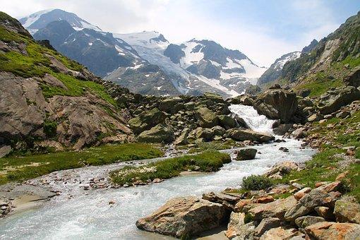 Susten, Switzerland, Mountains, Water Grass, Snow