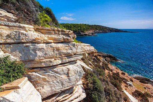 Rocky Coast, Cliff, Summer, Greece, Island, Sea, Shore