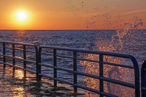 St Joseph, North Pier, Splash, Sunset, Lake Michigan