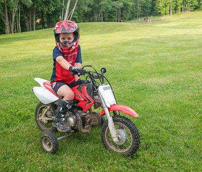 Dirt Bike, Training Wheels, Helmet, Young Boy