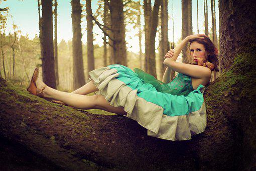 Girl, Reclined, Laying Down, Tree, Tree Branch, Forest