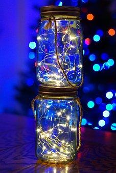 Twinkle Lights, Christmas, Mason Jars, Night