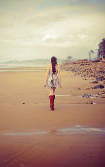 Girl, Alone, Beach, Walking, Isolated, Woman, Young