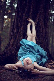 Fallen, Fall, Woods, Girl, Autumn, Nature, Stumble