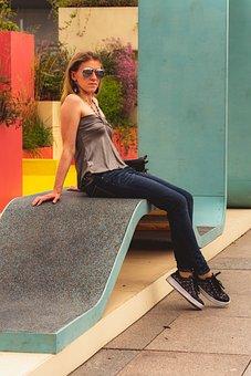 Zaryadye, Park, Moscow, Bench, Woman, Girl, Sunglasses