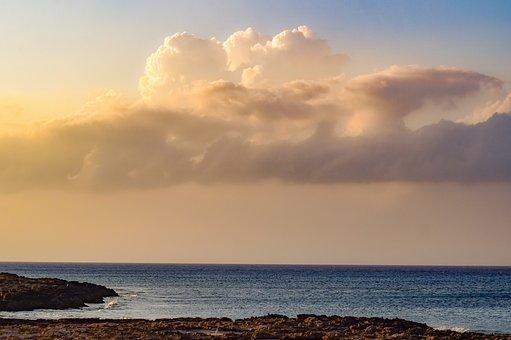 Sea, Sky, Clouds, Coast, Sunset, Beach, Nature, Evening