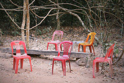 Chairs, Abandoned, Plastic, Sit, Forget, Broken, Unused