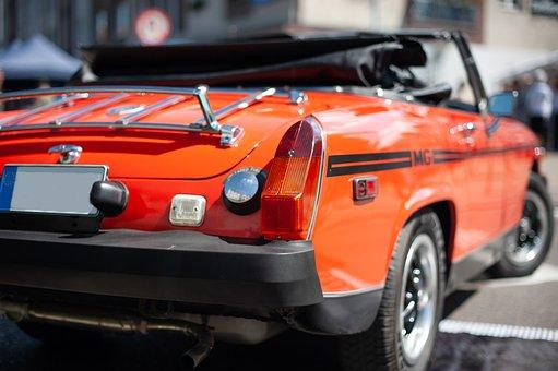 Red, Cabrio, Cabriolet, Car, Mg, Auto, Vintage, Vehicle