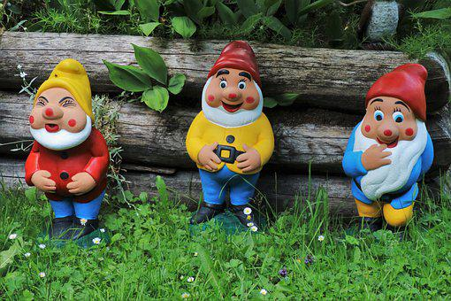 Garden Ornaments, Dwarves, Three, The Scenery, Cheerful