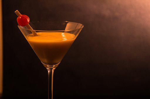 Cocktail, Cherry, Martini, Bar, Red, Glass, Cherries