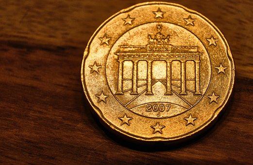 Money, Euro, Cent, Coin, 20, Twenty, Back