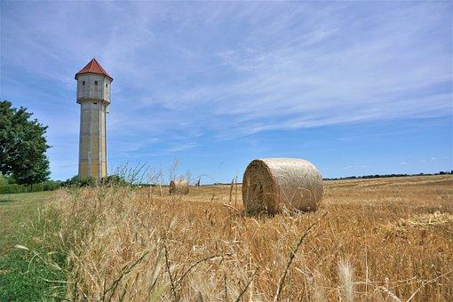 Water Tower, Blue Sky, Grain, Straw Bales, Field