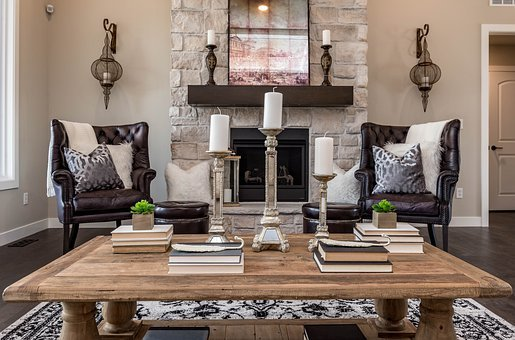 Living Room, Fireplace, House, Furniture