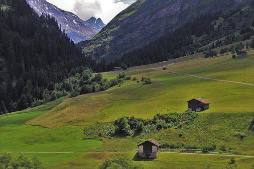 Green Fields, Hill, Far View, Trekking, The Alps