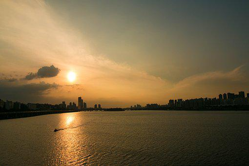 Korea, Bridge, Dongjak, Canon, Sunset, Sky