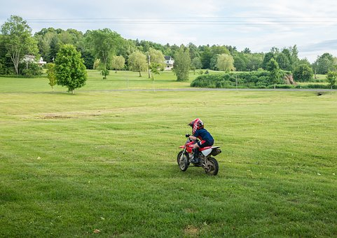 Dirt Bike, Motorcycle, Boy, Helmet, Riding, Landscape