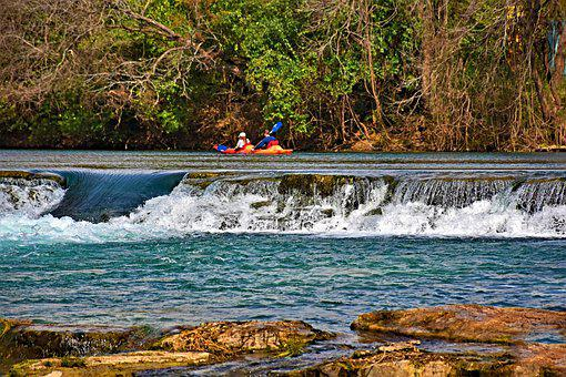 River, Waterfall, Rapids, Kayak, Boat, Couple, Man