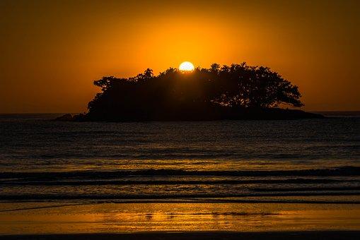 Silhouette, Orange, Sea, Water, Ocean, Sunset, Nature