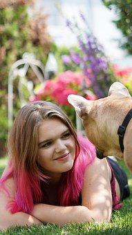 Woman, Young, Girl, Beautiful, Pretty, French Bulldog
