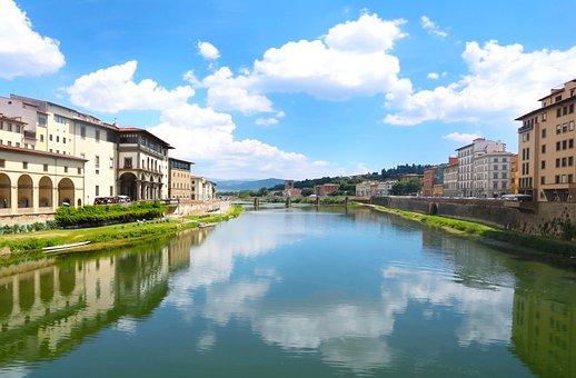 Florence, Tuscany, Italy, Arno, River, City