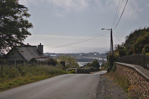 Road, Coastline, Brittany, France, Loquémeau, Sea