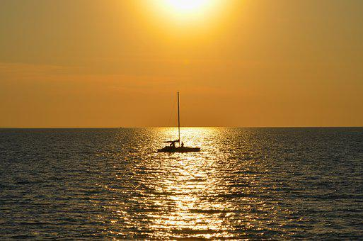 Tropical, Sunset, Boat, Yacht, Ocean, Summer, Sea