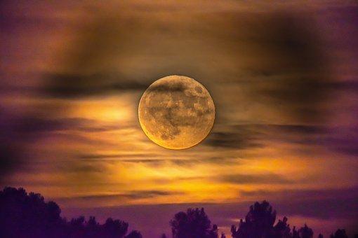 Moon, Clouds, Sky, Night, Fantasy, Landscape