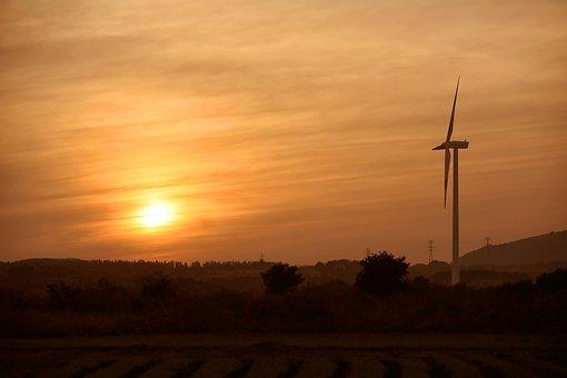 Sunset, Landscape, Wind Power, Nature, Sky