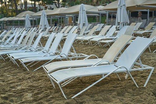 Beach, Sunbeds, Solar, Nature, Umbrella, Background