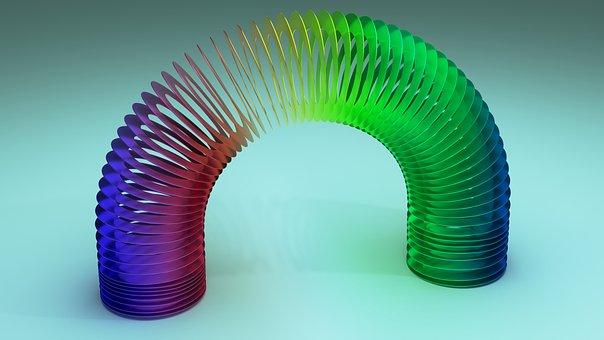 Slinky, Spring, Rainbow, Colorful, Metallic, Reflect