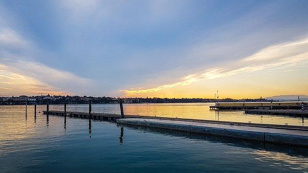 Peschiera Del Garda, Garda, Sunset, Italy, Port