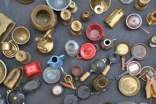 Miniatures, Old, Vintage, Metal, Glass, Pots, Tableware