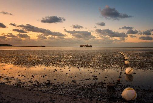 North Sea, Water, Wadden Sea, Landscape, Low Tide