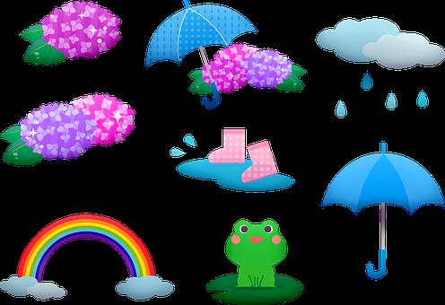 Rainy Season, Frog, Kawaii, Asian, Hydrangea, Rain