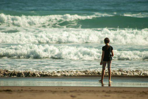 Beach, Girl, Waves, Sea